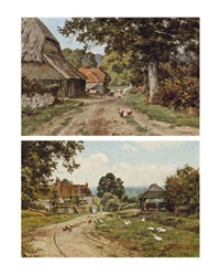 a sussex farm and limborne farm, sussex (pair) by edward wilkins waite