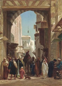 a camel in a crowded street, cairo by frederick goodall