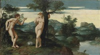 adam and eve in the garden of eden by jan swart van groningen