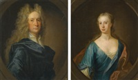portrait of james drummond, 2nd laird of blair drummond (+ portrait of his wife jean carre of cavers; pair) by william aikman