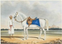 a white horse and his groom by muhammad amir
