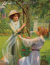 young women in a flower garden by w. savage cooper