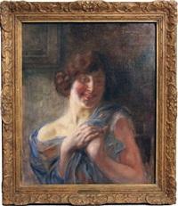 femme au châle bleu, les mains jointes by albert besnard