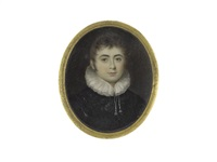 a gentleman, wearing black doublet and white ruff drawn with tassels by william bate