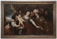 the infant moses stamping on pharoah's crown by andrea celesti