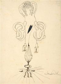 cadavre exquis (sketch) by salvador dali, valentine hugo, andre breton, and gala dali