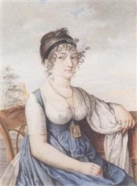 portrait de femme, assis dans un paysage, portant une miniature autour du cour by antoine louis françois sergent-marceau