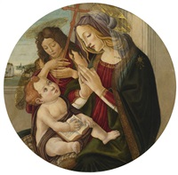 madonna and child with the infant saint john the baptist, seated by a window, an extensive landscape beyond by sandro botticelli