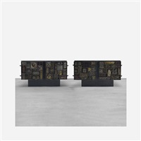 pair of important welded front cabinets by paul evans