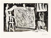 dans l'atelier; deux modèles avec une grande toile et des sculptures by pablo picasso