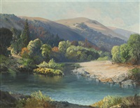 a river landscape among rolling foothills by carl sammons