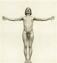 male nude with arms outstretched (study) by walter ufer