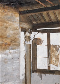 window with baskets by xia baoyuan