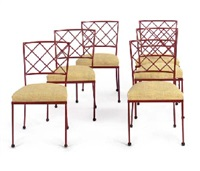 croisillons' a set of six painted metal and straw dining chairs, circa 1947 by jean royère