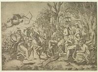 cupid aiming an arrow at apollo's heart by leonard thiry
