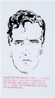 the left eye was large and watery (self-portrait) by raymond pettibon