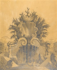 a fountain with shell and rocaille by emilio terry