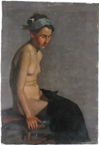 seated girl with headband by mary cecil allen
