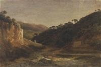 paesaggio collinare con torrente by doménico cambiaso