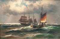 two sailing ships by alfred jensen