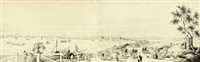 the waterfront, calcutta (2 parts mounted as 1) by charles (sir) d'oyly