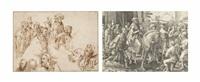 a sheet with studies after engravings by lucas van leyden and albrecht dürer by jacques de gheyn ii