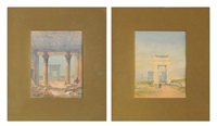the great gateway, thebes; temple of dandour (2 works) by frederick goodall