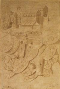 tentes, chariots, boucliers et objets d'après la colonne trajane by nicolas poussin
