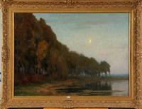 lever de lune sur l'étang by pierre abattucci