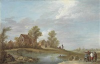 a landscape with a shepherd and his flock and other figures by a lake, a village beyond by david teniers the younger