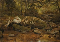 stream near ilsenburg by georg heinrich crola