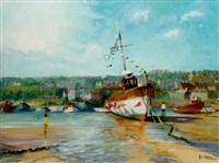 st. ives harbour at lowtide by john ambrose