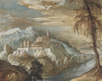 a mountainous landscape with a castle on a rocky promontory looking over a river by danube school (16)