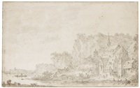 a river landscape, with a church and houses to the right, a cliff beyond by jan josefsz van goyen