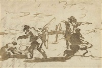rapid studies of figures, drawn on part of the back of a letter by francesco guardi