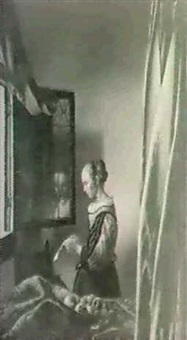 woman reading a letter by johannes (van delft) vermeer