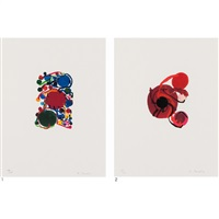 1. blue, red and green circles with small circles 2. four red circles (2 works) by atsuko tanaka