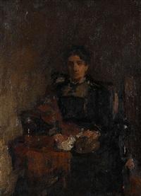 portrait d'une femme assise (sa mère?) by walter vaes