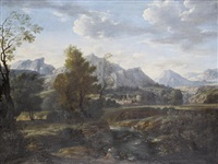 figures resting beside a lake, before an italianate landscape by stefano pasero
