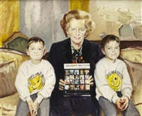 portrait of margaret thatcher - glasgow's miles better campaign by norman edgar