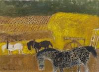 chevaux aux travaux des champs by andré brasilier