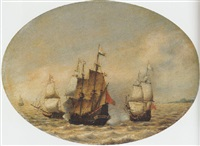 a dutch merchantman under attack offshore by hendrick van anthonissen