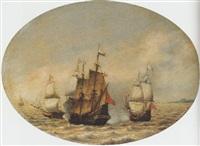 a dutch merchantman under attack offshore by hendrick van anthonissen