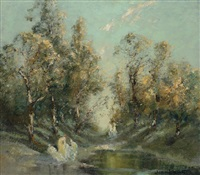 idyll evening light by john banks