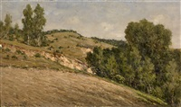 hilly landscape near leninskie gorki by vladimir nikolaevitch aralov