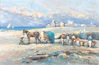 seaweed gatherers on the beach by michael d' aguilar