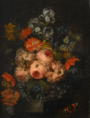 roses, chrysanthemums, bluebells and other flowers in a glass vase upon a stone ledge with hovering butterfly, houseflies and ladybug by simon pietersz verelst
