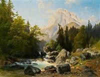 gebirgslandschaft mit wildbach by josef holzer