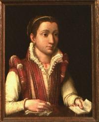 ritratto di giovane gentildonna con libreto e fazzoletto by sofonisba anguissola