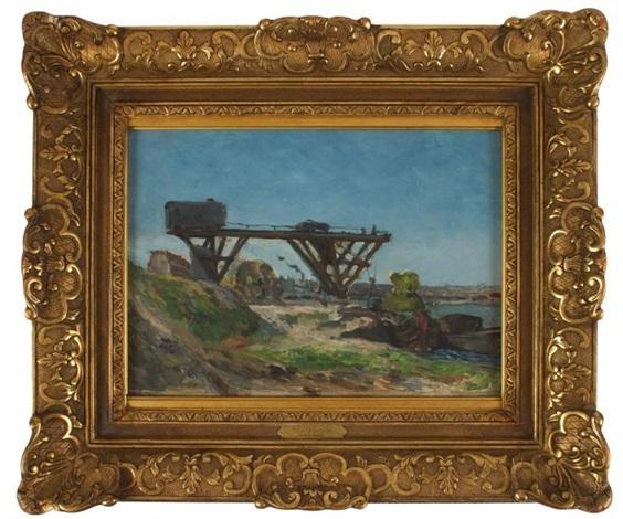 le pont roulant devant la seine, aux environs du quai de grenelle by paul gauguin